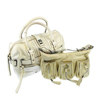Two designer bags. To include a small cream leather shoulder bag by Givenchy, featuring three front