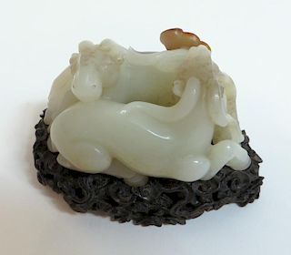 White Jade Carved Double Sheep