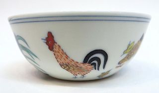 Chinese Doucai Porcelain Rooster Cup