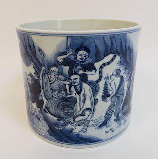 Antique Blue & White Porcelain Brush Pot