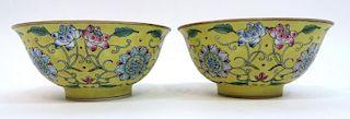 Pair Qianlong Enamel Porcelain Bowls
