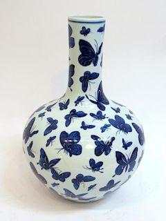 Blue And White Hundred Butterfly Porcelain Vase