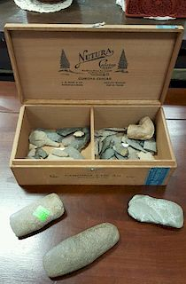 Tray lot of American Indian arrowheads and tools.
