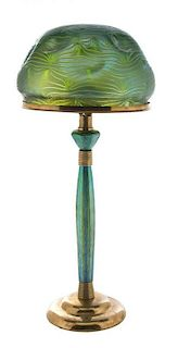 An Austrian Art Nouveau Loetz Glass and Gilt Metal Mounted Lamp, designed by Leopold Bauer, Height overall 29 x diameter of shad