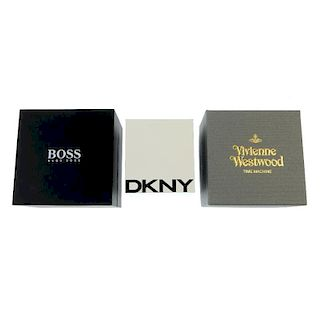 A selection of watch boxes, including examples by Vivienne Westwood, Hugo Boss, DKNY etc.  <br><br>D