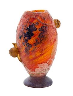 A Daum Cameo and Applied Glass Vase, Height 7 1/4 inches.