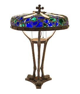 An Austrian Jeweled and Cast Metal Lamp, Height overall 23 x diameter of shade 16 1/4 inches.