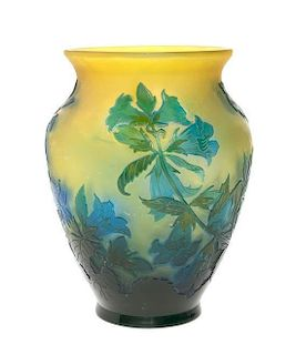 A Galle Cameo Glass Vase, Height 7 inches.