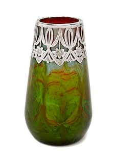 A Loetz Glass and Silver Overlay Titania Vase, Height 4 1/2 inches.