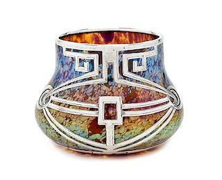A Loetz Glass and Silver Overlay Papillon Vase, Diameter 4 1/2 inches.