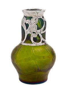 A Loetz Glass and Silver Overlay Vase, Height 5 1/4 inches.