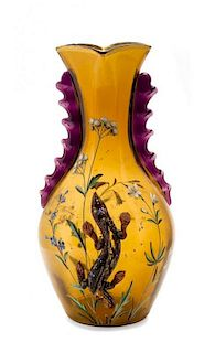 * An Early Galle Enameled and Applied Glass Vase, Height 11 1/4 inches.