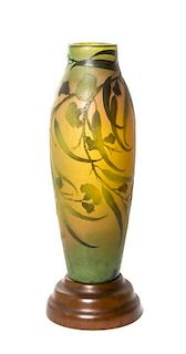A Galle Cameo Glass Vase, Height 20 inches.