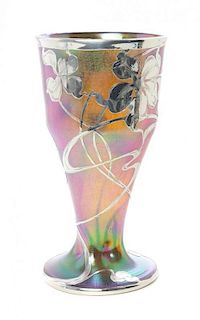 An Austrian Iridescent Glass and Silver Overlay Vase, Height 11 inches.