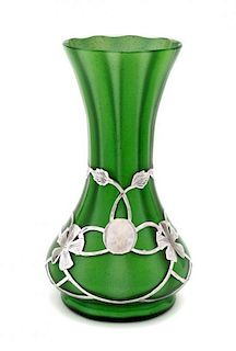 A Loetz Glass and Silver Overlay Grun Mettalin Vase, Height 5 1/8 inches.
