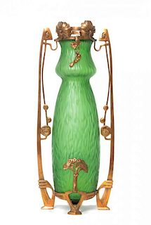 * A Loetz Glass and Gilt Metal Mounted Vase, Height 17 inches.