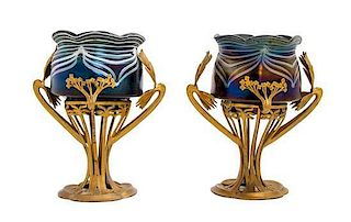 * A Pair of Austrian Glass and Gilt Metal Mounted Vases, Height 11 1/4 inches.
