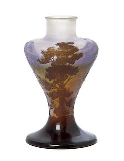 * A Galle Cameo Glass Vase, Height 5 1/2 inches.