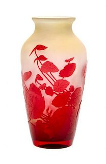 A Galle Cameo Glass Vase, Height 7 3/4 inches.