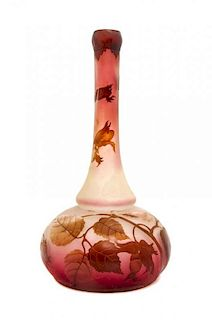 An Andre Delatte Cameo Glass Vase, Height 10 1/2 inches.