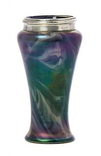 An Iridescent Glass and English Silver Mounted Vase, Height 6 1/2 inches.