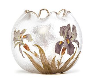 A Mont Joye Enameled Glass Vase, Height 7 1/4 inches.