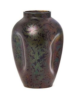 An Austrian Iridescent Glass Vase, attributed to Loetz, Height 6 3/4 inches.
