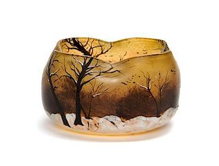 A Legras Enameled Glass Vase, Height 4 inches.