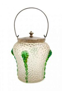 * An Austrian Glass Biscuit Jar, attributed to Kralik, Height over handle 11 inches.