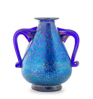 A Czechoslovakian Iridescent Glass Vase, Height 7 inches.