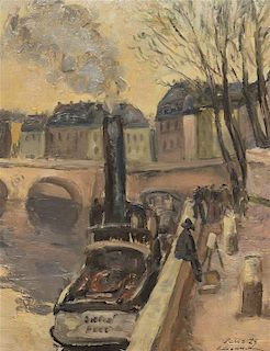 Artist Unknown, (Continental, early 20th century), Riverbank, Paris, 1929