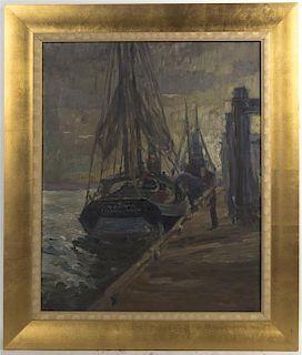Horst Wobbeking, (American, 20th century), Harbor Scene