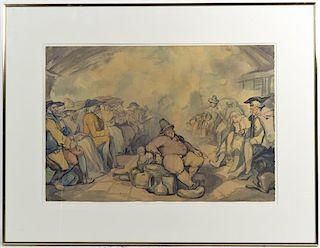 After Thomas Rowlandson, (British, 1856-1927), Street Scene