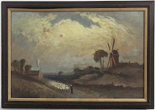 Style of John Hammond, (19th century), Shepherd with his Flock