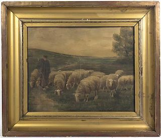 Artist Unknown, (Continental, 19th century), Shepherd and his Flock