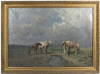 Artist Unknown, (20th century), Horses at a Watering Hole