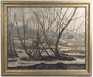 Morley Hicks, (American, 1877-1959), Winter at Hamilton, Wisconsin, 1933