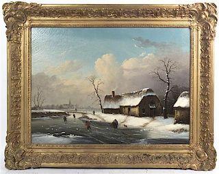 Artist Unknown, (Dutch School, 19th century), Skating on the River