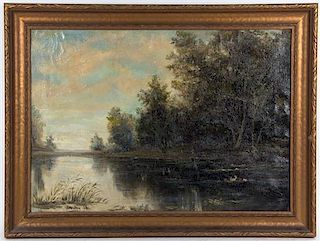 A. Thieme, (20th century), Landscape with Trees and Lake, 1925