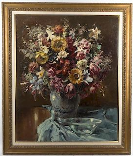 Babette Wagner, (Austrian, 1893-1965), Still Life with Vase of Flowers and Bowl