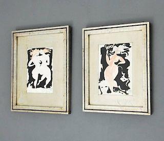 Figural Paintings Signed Bassman, Original Works