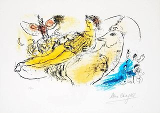 Marc Chagall 'L'Accordéoniste' Lithograph, Signed Edition