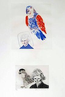 David Hockney 'Mother With Bird', Signed Edition
