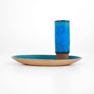 Herman August Kähler Studio Vase & Bowl