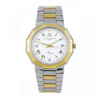 BAUME & MERCIER - a gentleman's Riviera bracelet watch. Stainless steel case with yellow metal bezel