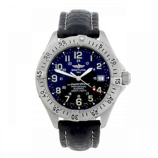 BREITLING - a gentleman's Superocean wrist watch. Stainless steel case with calibrated bezel. Refere