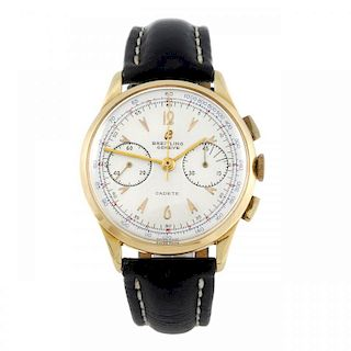 BREITLING - a gentleman's Cadette chronograph wrist watch. Yellow metal case, stamped 18k with poinc