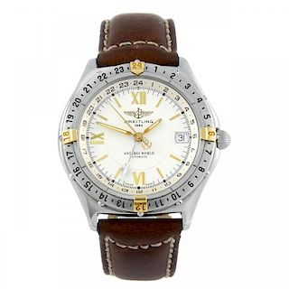 BREITLING - a gentleman's Windrider Antares World wrist watch. Stainless steel case with calibrated