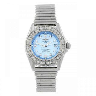 BREITLING - a lady's Callistino bracelet watch. Stainless steel case with factory diamond set bezel.