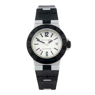 BULGARI - a lady's Diagono Aluminium wrist watch. Aluminium case with rubber bezel. Reference AL 29